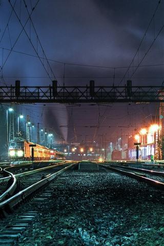 iPhone Wallpaper Rail station, tracks, night, lights, city