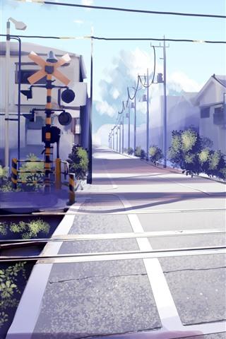 iPhone Wallpaper Railway crossings, road, houses, anime