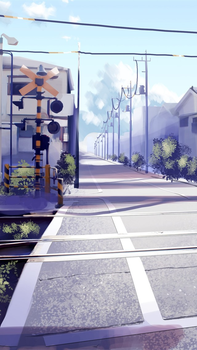 Railway Crossings Road Houses Anime 750x1334 Iphone 8 7 6 6s Wallpaper Background Picture Image