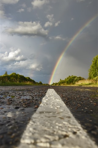 iPhone Wallpaper Rainbow, road, trees, clouds, after rain
