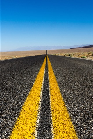 iPhone Wallpaper Road, yellow lines, far away, asphalt