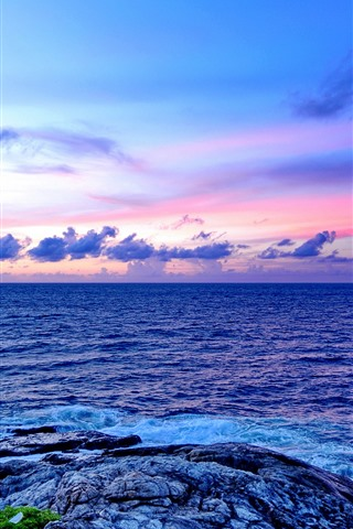 iPhone Wallpaper Sea, rocks, clouds, sky, dusk