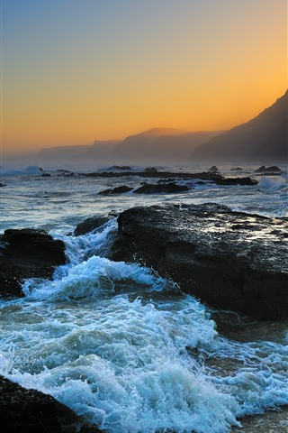 iPhone Wallpaper Sea, rocks, wave, foam, mountains, dusk