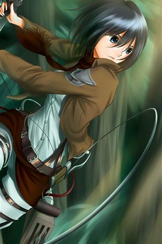 iPhone Wallpaper Short hair anime girl, sword