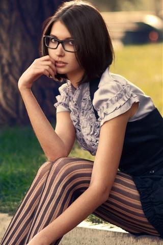 iPhone Wallpaper Short hair girl, sit, grass