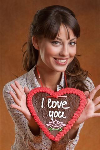 iPhone Wallpaper Smile girl, I Love You, love heart