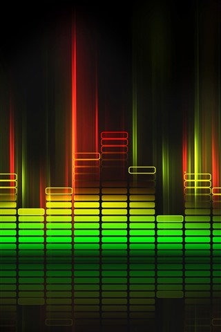 iPhone Wallpaper Sound waves lights, colorful, black background