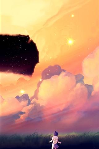 iPhone Wallpaper Stars, clouds, grass, anime girl