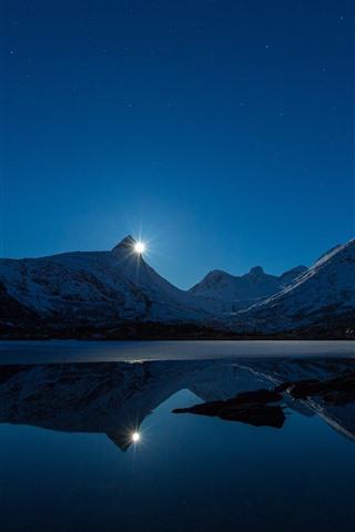 iPhone Wallpaper Sunset, lake, mountains, snow, water reflection, stars, dusk