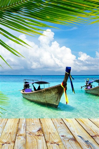 iPhone Wallpaper Thailand, two boats, pier, sea, palm tree leaves, summer
