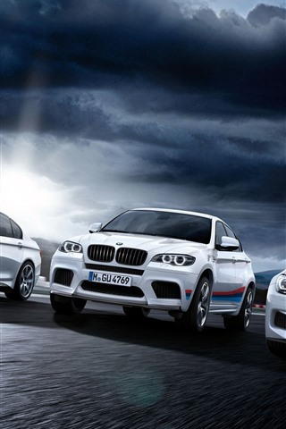 iPhone Wallpaper Three white BMW cars front view
