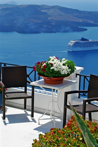 iPhone Wallpaper Balcony, flowers, sea, ship