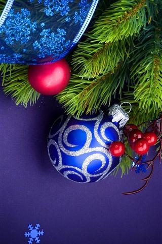 iPhone Wallpaper Blue Christmas balls, twigs, berries, ribbon, snowflakes