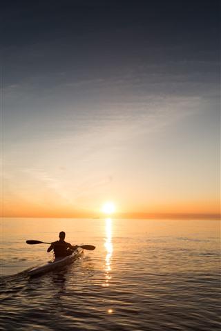 iPhone Wallpaper Boat, man, sea, sunrise