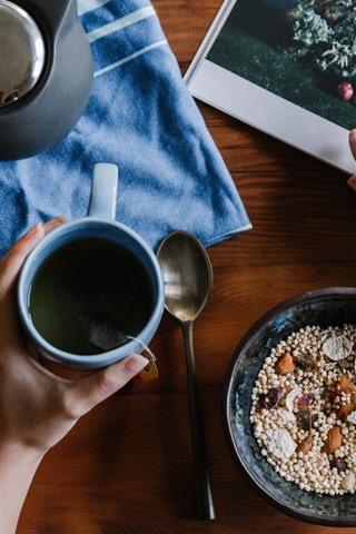 iPhone Wallpaper Breakfast, magazine, tea, hand, watch
