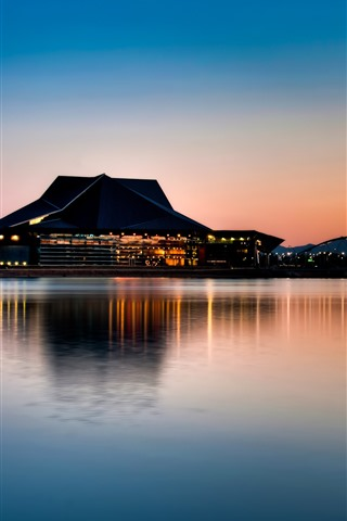 iPhone Wallpaper Buildings, bridge, lake, night, water reflection