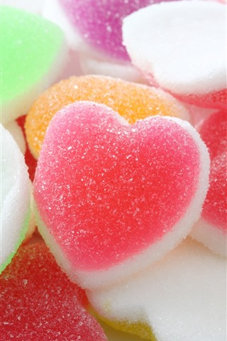 iPhone Wallpaper Colorful love hearts soft candy