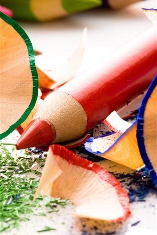 iPhone Wallpaper Colorful pencils, wood