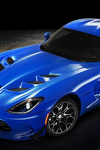 iPhone Wallpaper Dodge blue supercar, shadow