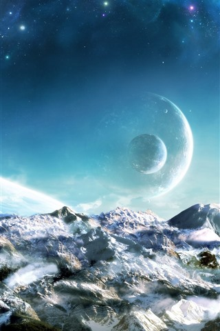 iPhone Wallpaper Dream world, planets, snow, space, beautiful