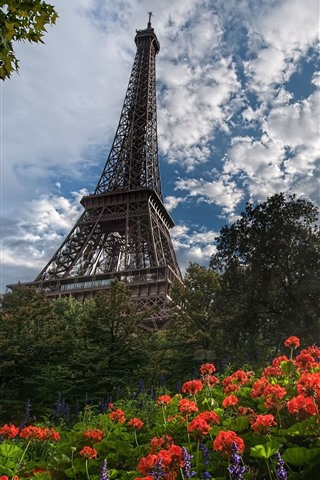 iPhone Wallpaper Eiffel Tower, flowers, sun rays