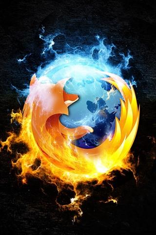 iPhone Papéis de Parede Logotipo do Firefox, fundo preto