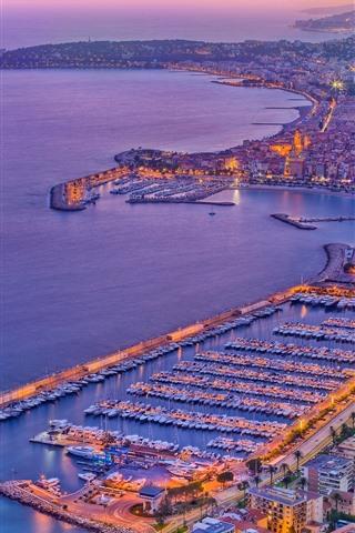 iPhone Wallpaper France, Menton, city, boats, port, sea, dusk, lights