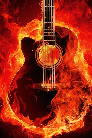 iPhone Wallpaper Guitar with fire, creative picture