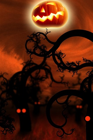iPhone Обои Хэллоуин, деревья, тыква, ночь, креативная картина