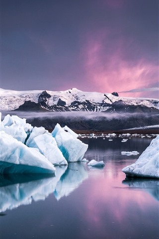 iPhone Wallpaper Iceland, ice, sea, dusk, snow