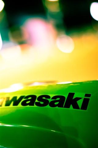 iPhone Papéis de Parede Kawasaki, logotipo, noite, círculos de luz