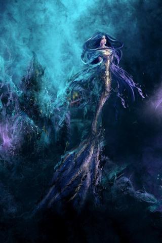 iPhone Papéis de Parede Sereia, garota fantasia, subaquática, imagem artística