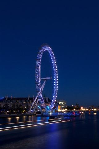 iPhone Wallpaper Night, river, ferris wheel, lights, England, London