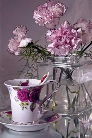 iPhone Wallpaper Pink carnations, flowers, vase, tea