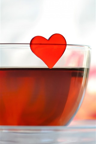 iPhone Wallpaper Red tea, glass cup, love heart