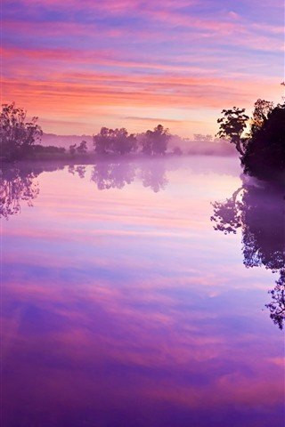 iPhone Wallpaper River, trees, fog, water reflection, morning, purple