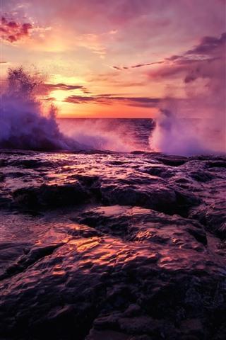 iPhone Wallpaper Sea, sunset, water splash, rocks