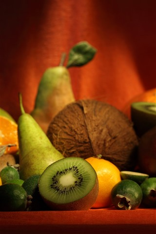 iPhone Wallpaper Some fruit, kiwi, orange, pear, still life