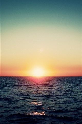 iPhone Wallpaper Sunrise, sea, horizon, morning