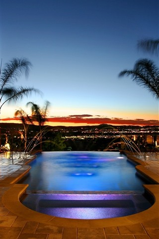 Swimming Pool Palm Trees Night Resort 750x1334 Iphone 8 7 6 6s Wallpaper Background Picture Image