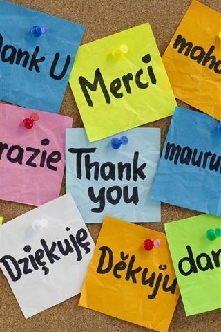 iPhone Обои Спасибо, другой язык, красочная бумага