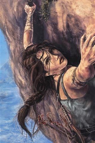 iPhone Papéis de Parede Tomb Raider, Lara Croft, escalada, pintura artística