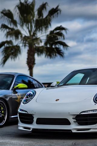 iPhone Wallpaper Two Porsche cars