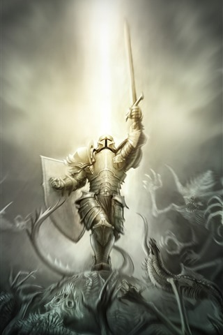 iPhone Wallpaper Warrior, armor, monster, creative picture