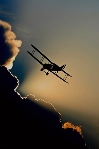 iPhone Wallpaper Aircraft, silhouette, flight, sky, clouds