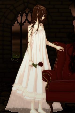 iPhone Wallpaper Anime girl, vampire, sofa, rose