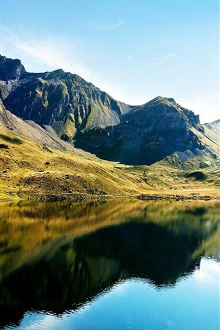 iPhone Wallpaper Beautiful nature landscape, mountains, green, lake, water reflection