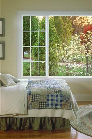 iPhoneの壁紙 ベッドルーム、ベッド、照明、窓、インテリア