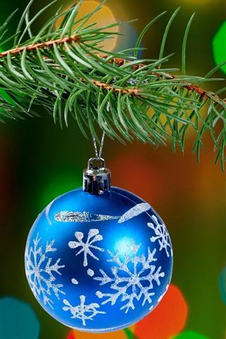 iPhone Papéis de Parede Bola de Natal azul, galhos de pinheiro, círculos de luz