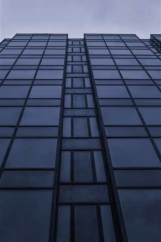 iPhone Wallpaper Buildings, glass windows, dusk